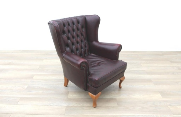 oxblood leather wing chair dining seat covers india queen anne wingback chesterfield arm w solid oak legs