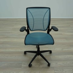 Humanscale Diffrient World Chair White Leather Parsons Dining Light Blue Mesh Office Task