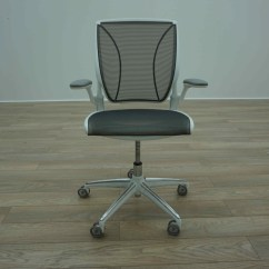 Humanscale Diffrient World Chair White Exercise Ball Cover Grey Mesh Office Task