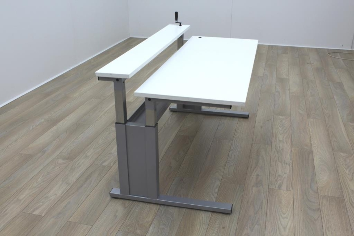 Height Adjustable White 2 Tier Office Desk Workstation  eBay