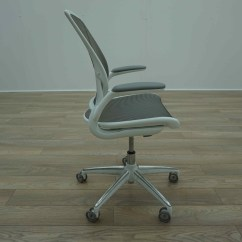 Humanscale Diffrient World Chair White Heavy Duty Camp Chairs Grey Mesh Office Task
