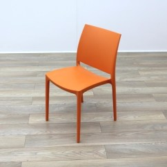 Orange Cafe Chairs Living Room Club New Moulded Plastic Stacking Office Canteen
