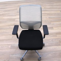 White Mesh Office Chair Uk Dining Leg Glides Giroflex G68 Black Fabric Task Chairs