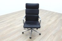 Charles Eames Soft Pad Style High Back Black Leather Task