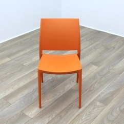 Orange Cafe Chairs Swivel Desk Without Wheels New Moulded Plastic Stacking Office Canteen