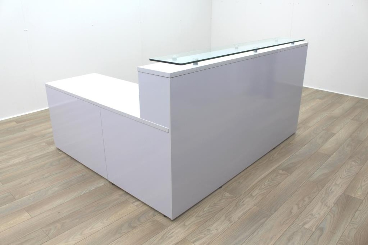 New Cancelled Order Gloss White Office Reception Desk