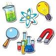 Dibujo de que contiene varias imagenes que representan a la ciencia como un microscopio, un célula, etc