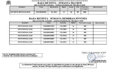 Subasta Raza Retinta Agroganadera 2019 – Trujillo