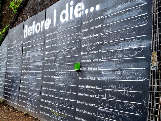 A public bucket list on the Regent's Canal Walk, London