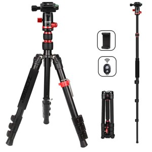 ZOMEi M5 Camera Tripod Lightweight Travel Tripod Monopod 2 in 1 Portable Camera Tripod Stand with 360 Degree Ball Head, Remote Bluetooth and Phone Clip Cameras, Smartphone