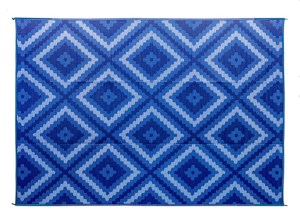 Camco Large Reversible Outdoor Patio Mat-Mold and Mildew Resistant, Easy to Clean, Perfect for Picnics, Cookouts, Camping, and The Beach (9' x 12', Blue and White Zig Zag Design) (42866)