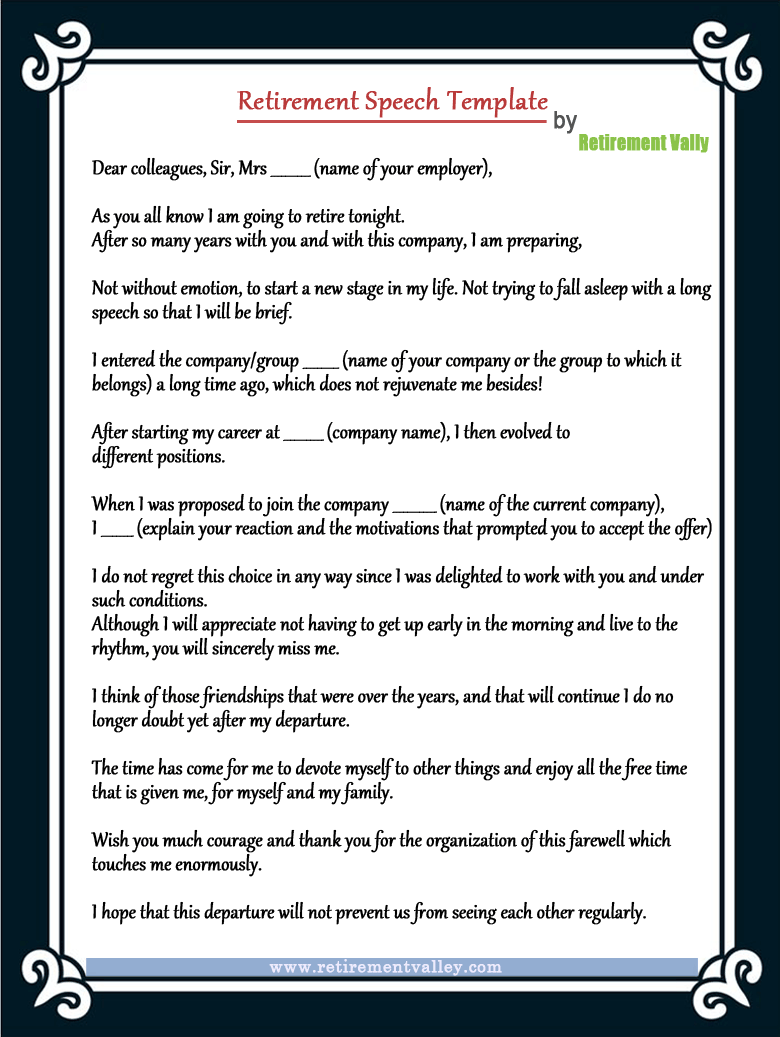 retirement speech template how to make your retirement speech memorable