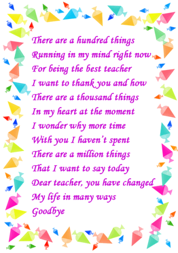 Inspiring Retirement Poems for Teachers from Students