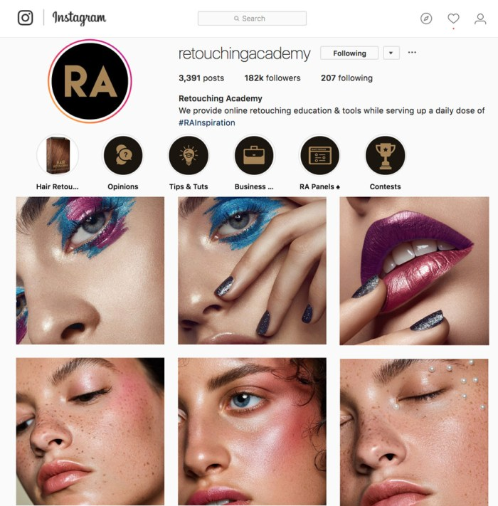 Retouching Academy exporting images for social media web Instagram