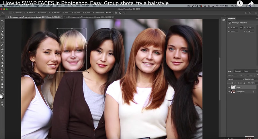 Screenshot from the video tutorial Swapping Faces In Photoshop
