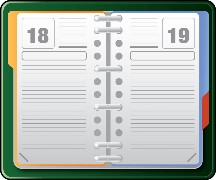 Stay organized with a day planner. Picture shows a day planner open with blank pages.