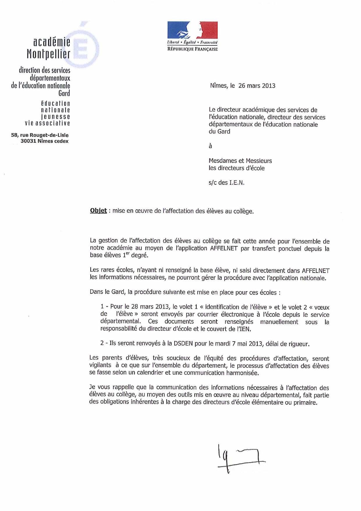 courrier administratif education nationale