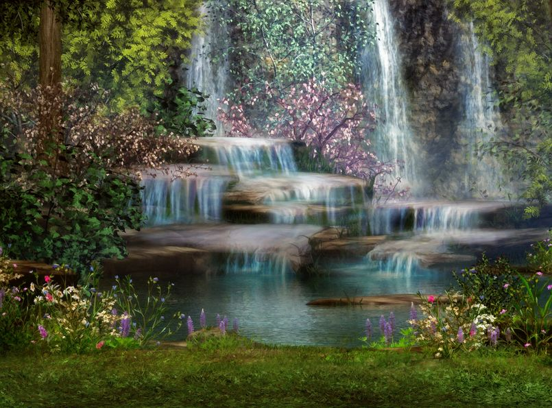 13896181 - a magical landscape with waterfalls, flowers and trees
