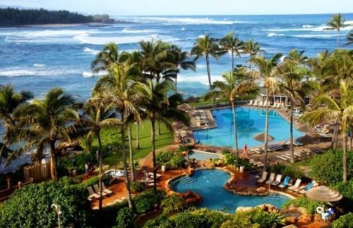 HAWAII, OAHU:  Turtle Bay Resort pools viewed from the 5th floor of the resort.