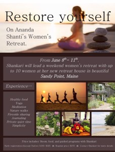 Ananda Shanti yoga retreat at Sandy Point Maine June 8th to June 11th