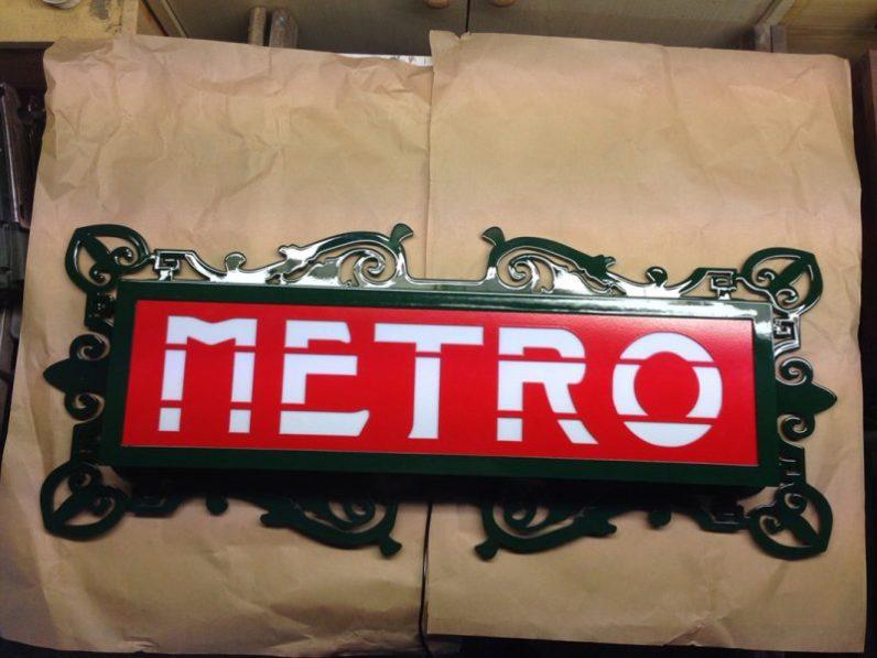 Fabrication enseigne de métro parisien Val d'Osne
