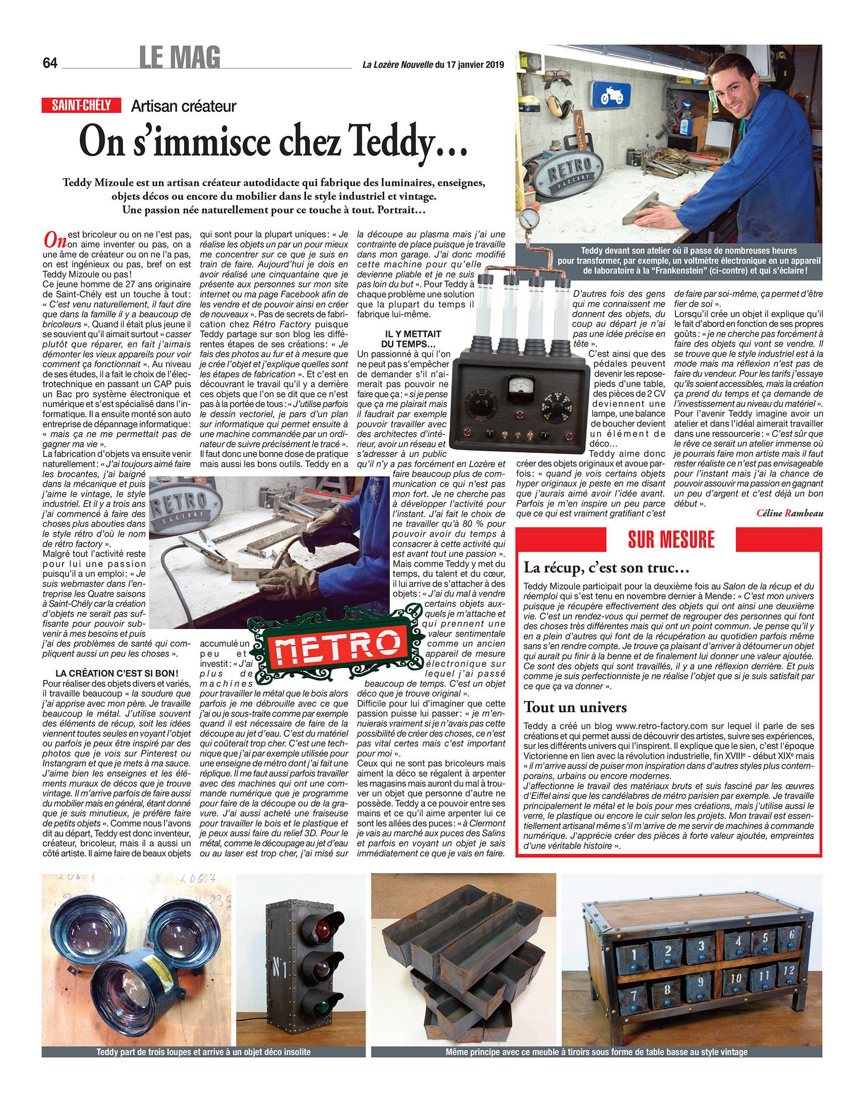 Article sur Retro Factory du journal la Lozere Nouvelle