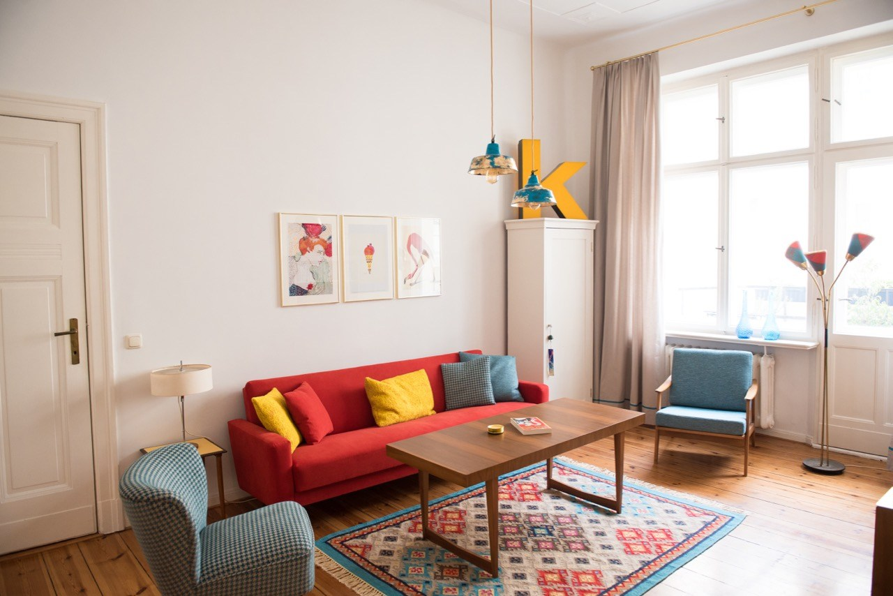 Interior Design Berliner AltbauWohnraum  Retro Salon