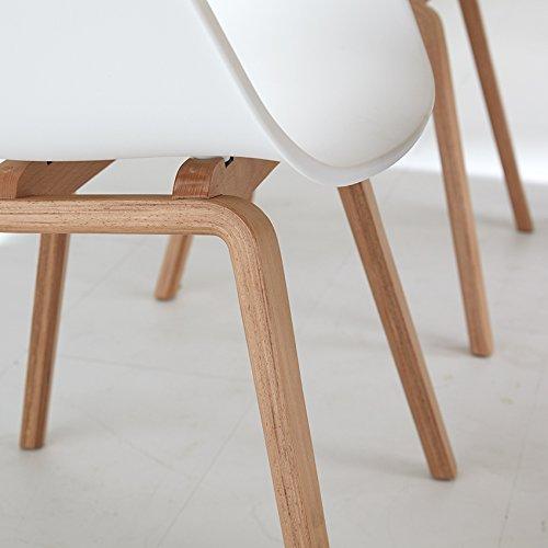 Romeo Wohnzimmerstuhl Esszimmerstuhl 2erset Wei Polypropylen und Buchenholz retro design Stuhl