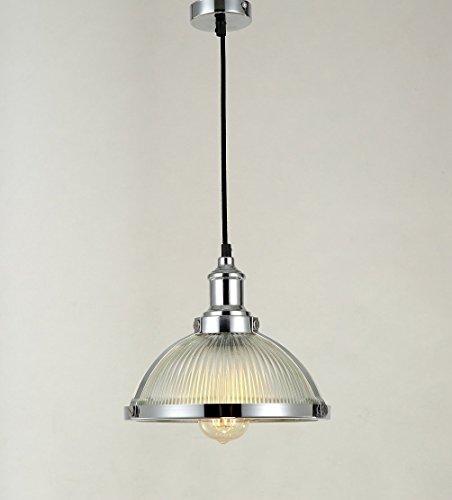 Maxmer Industrie Retro Pendelleuchte Vintage Loft Deckenleuchte mit Glas Lampeschirm und Eisen