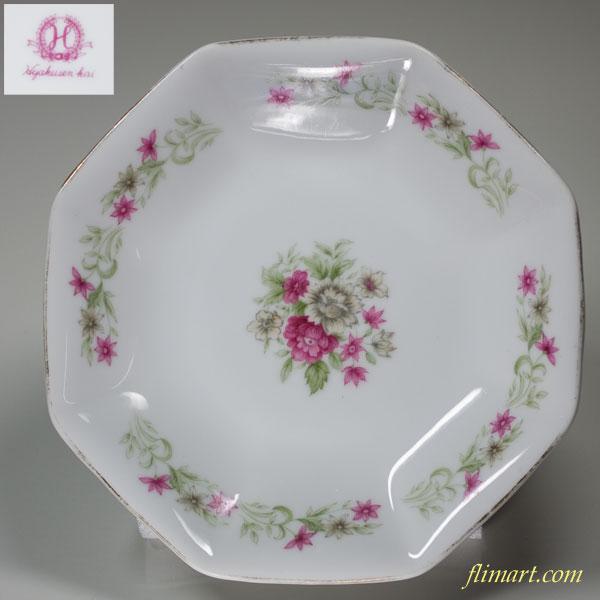 昭和レトロ八角プレート15.5cm花柄R2001