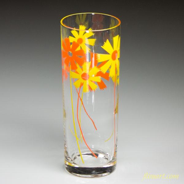 昭和レトロアデリアグラスガラスコップオレンジ色黄色花柄