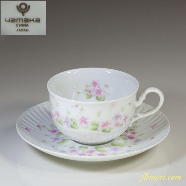 ヤマカ花柄カップ&ソーサーR4501
