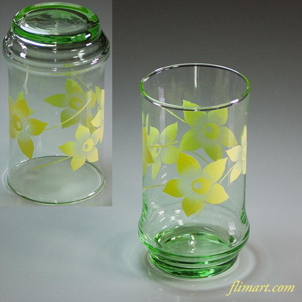 昭和レトロガラスコップ花柄黄緑R1193