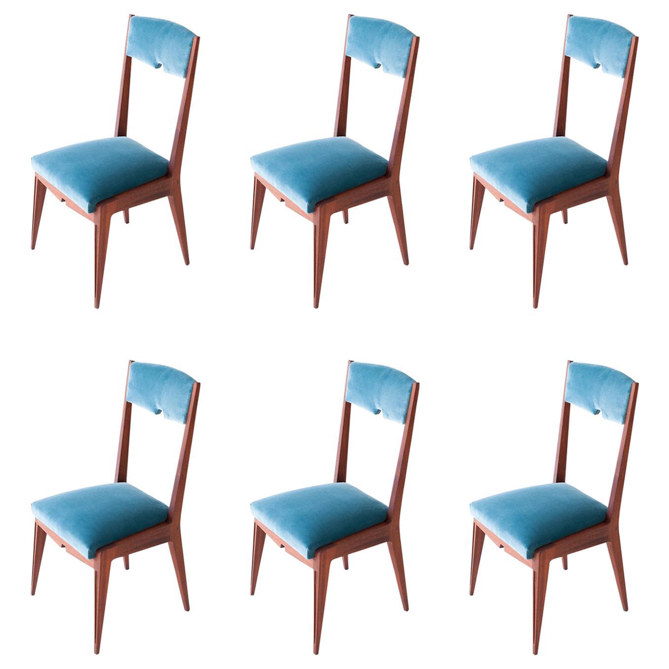 Set of six italian light blue velvet and mahogany dining chairs , 1950s