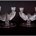 "New Martinsville No. 18 ""Queen Ann"" winged candelabras."