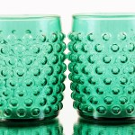 Pair of big mold blown barrel tumblers with large hobnails made in the 1940s by Anchor Hocking, America's most prolific glass maker.