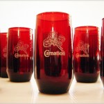 Set of 8 Royal Ruby glass Newport Carnation premium tumblers.