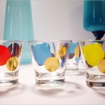 Set of four Eames retro orb rock glasses designed by Russel Wright.