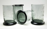 Hand blown with heat finished soft rims and weighted, over-width, flat bases that prevent the tumbler from 'tumbling' over.