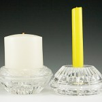 Set of vintage Princess House crystal reversible candle holders. Can hold large votive candles or slim taper candles.