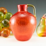 Intense Persimmon Orange Retro Modern Vase Jug by Pilgrim Art Glass