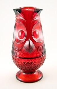 Stylish ruby glass owl candle lantern by Viking Art Glass, West Virginia USA. Circa 1960's - 1970's.