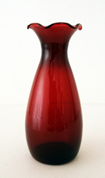 Royal Ruby classic vase.  Blown from mold glass.  Circa 1940's.