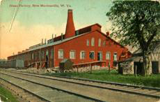 Early New Martinsville Glass factory in New Martinsville, West Virginia.