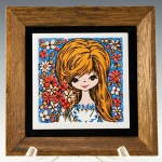Big Eye Big Hair Beauty Teak Framed Tile Decor