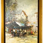 Beautiful big vintage oil painting signed Pisani of an Italian street market scene with solid oak frame.