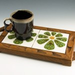 Double trivet teakwood tray with handmade tiles by Vitro Ceramica.