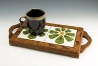 Double trivet teakwood tray with handmade tiles by Vitro Ceramica.