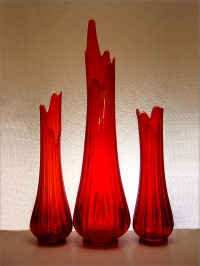 Large Orange Floor Vase by LE Smith - Retro Art Glass