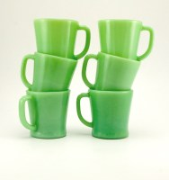No need to search and collect Fire King Jadite mugs one by one.Here is an entire set of 6!